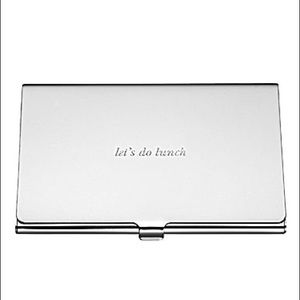 NWT Kate ♠️ Spade silver Let's Do Lunch card case
